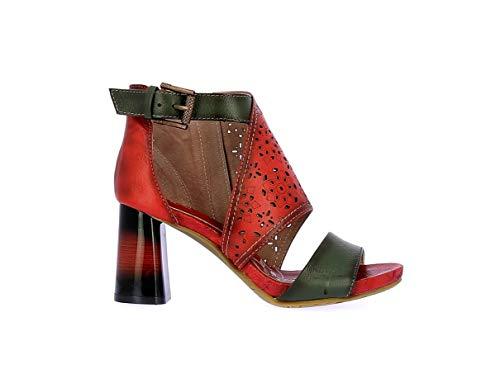 Laura Vita, Hacsio 03, Damen Leder-Sandalen, City-Schuhe für den Sommer, bequeme Sohle – Stil Original Blumen, Rot, Rot - rot - Größe: 37 EU