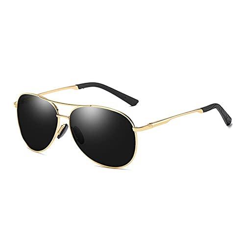 DovSnnx Unisex Polarizadas Gafas De Sol 100% Protección UV400 Sunglasses para Hombre Y Mujer Gafas De Aviador Gafas De Ciclismo Ultraligero Toad Espejo Marco Dorado Lente Gris