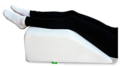 Post Surgery Elevating Leg Rest Pillow with Memory Foam Top - Best for Back, Hip and Knee Pain Relief, Foot and Ankle Injury and Recovery Wedge - Breathable and Washable Cover
