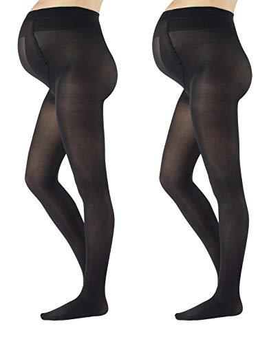 CALZITALY 2 Pares Medias Premama Opacas   Panty Para Futura Mama   40 Den   Negro, Azul Marino   S, M, L, XL   Calcetería Italiana   (M, Negro)