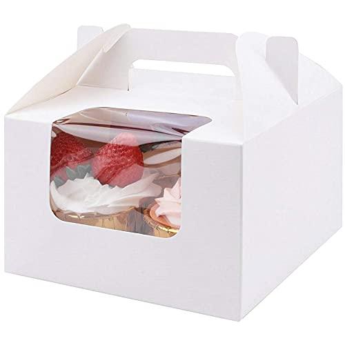Boîtes-cadeaux D'emballage En Papier Kraft, Boîtes à Cupcakes, Dessert Emballage à Emporter Boite avec Fenêtre Transparente 4 Inserts à Cupcakes Poignée pour Biscuits Et Pâtisseries (50pcs),Blanc