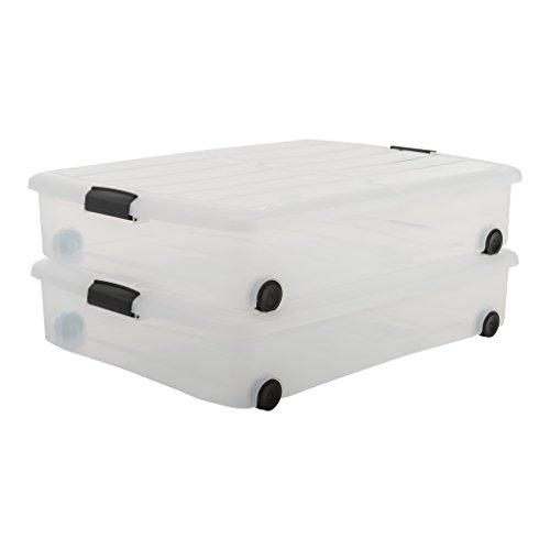 IRIS, 2er-Set Unterbettboxen / Rollerboxen / Aufbewahrungsboxen 'Carry Stocker Under Bed Box', CS-U800, mit 4 Rollen, zweiseitig bedienbarer Deckel, Plastik, transparent, 50 L, 75 x 56 x 15,7 cm