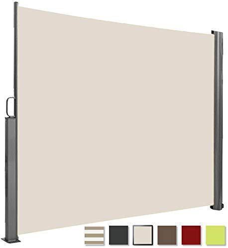 BRUBAKER Toldo Lateral Maui para balcón y terraza - Aluminio - Beige Crema - 300 x 180 cm