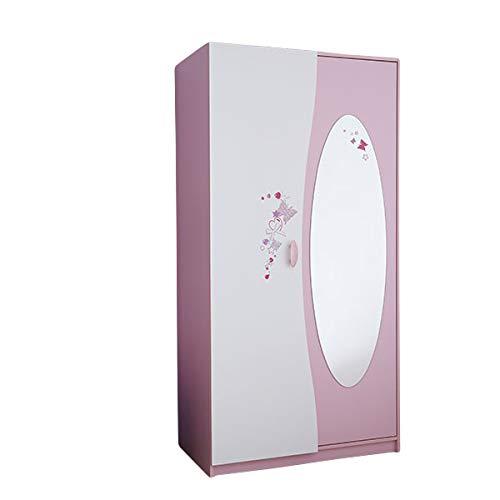 Kleiderschrank AVA rosa/weiß 2 Türen B 94 cm Kinderzimmer Jugendzimmer Mädchen Schrank Drehtüren Prinzessin Wäscheschrank