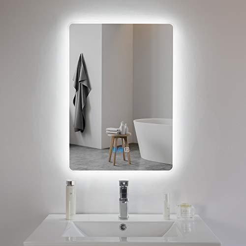 Espejo de baño con iluminación LED, espejo de pared con iluminación, 50 x 70 cm, con interruptor táctil, altavoz Bluetooth y antivaho, clase energética A ++