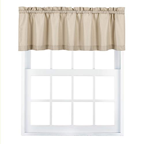 Valea Home Waffle Woven Textured Valance Curtains for Bathroom Water Repellent Window Covering Short Curtain, Taupe, 60 x16 inches, 1 Panel