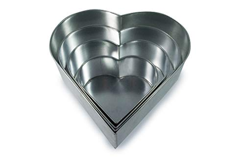 Set of 4 Tier Heart Multilayer Birthday/Wedding Anniversary Cake Tins/Cake Pans/Cake Moulds 6'.8'.10'.12' - all 3' Deep