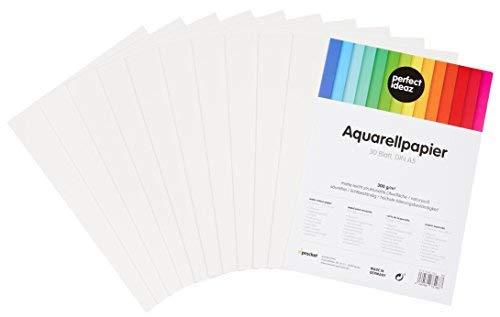 perfect ideaz 30 Blatt DIN A5 Aquarell-Papier 300g, Mal- & Zeichen-Block in weiß, Wasser-Farben Karton strukturiert & matt, watercolor paper für Skizzen, Aquarelle, Lavis, Gouache, Tempera & Acryl