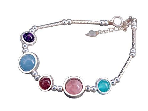 NicoWerk Pulsera de plata de ley 925 para mujer, multicolor, esfera de cuarzo rosa, aguamarina, amatista con piedra preciosa SAB201