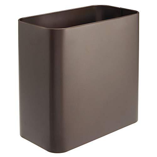 mDesign Papelera de oficina rectangular – Papelera metálica compacta y espaciosa para baño, cocina u oficina – Cubo de basura de metal – color bronce