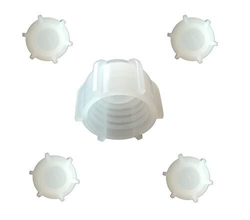 Kartuschenverschlusskappe 5 STÜCK Verschlusskappe für Kartuschen, Kartuschenverschluss mit Grobgewinde Schraubkappe Silikon Kartusche wiederverwenden und sicher verschließen Kartusche zumachen
