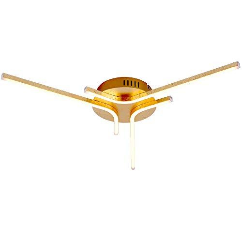 LED Decken Lampe Schlaf Gäste Zimmer Blatt Gold Effekt Wellen Leuchte Leuchten Direkt 11323-12