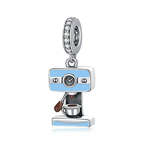 HMMJ S925 Plata esterlina DIY Hecho a Mano Azul máquina de café por Goteo Cuentas de Encanto para Pandora/Troll/Chamilia Pulsera de Encanto BSC416