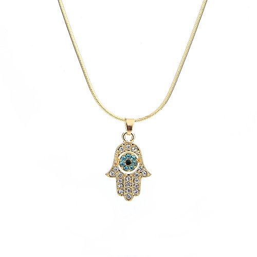 Meiligo Fashion Womens Hip-hop Blue Evil Eye Necklace Jewelry Rhinestone Protective Hand of Fatima Palm Pendant Necklace (Gold)