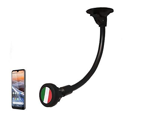 CAR MOUNT Porta Telefono Cellulare da Auto Supporto Smartphone Tablet per Auto Universale 2° Generazione Attacco Ventosa con Calamita Bandiera Italia Flessibile 360°