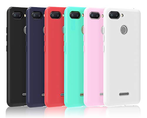 VGUARD [6 Stücke] Hülle für Xiaomi Redmi 6 / Xiaomi Redmi 6A, Ultra Dünn Tasche Schutzhülle Weiche TPU Silikon Gel Handyhülle Hülle Cover (Schwarz+Blau+Rot+Grün+Rosa+Transparent)