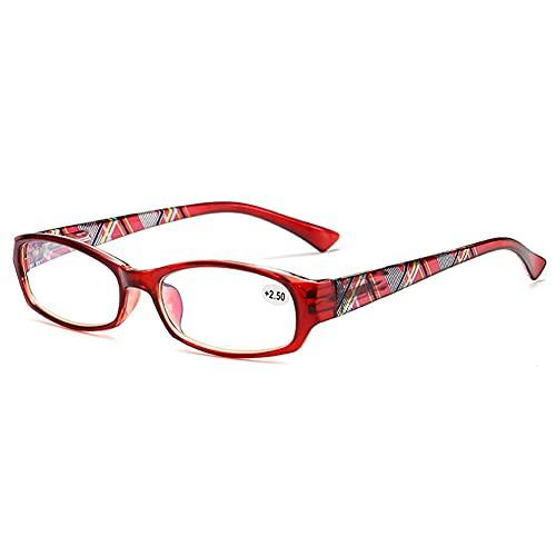 LGQ Gafas de Lectura Anti-luz Azul para Mujer, Montura de Revestimiento para presbicia, Gafas de TV para Mujer, anteojos de visión HD de Pierna de Primavera,Rojo,+2.00