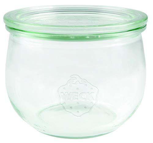 Weck - Barattolo in vetro sferico, 500 ml, con coperchio in vetro, per conserve, resistente al calore, adatto al microonde, adatto al forno, con bordo rotondo, 74, 6 pezzi