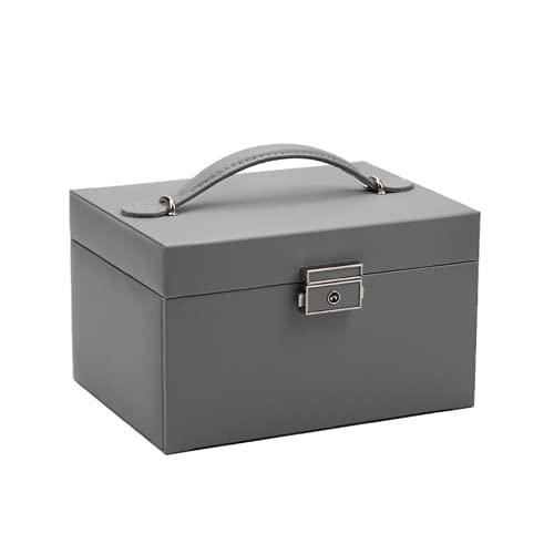 Caja de almacenamiento tipo cajón de gran capacidad, multifunción, con espejo de bloqueo, caja para pendientes de niña, joyería, anillo,collar,pulsera,caja de almacenamiento de madera forrada en cuero