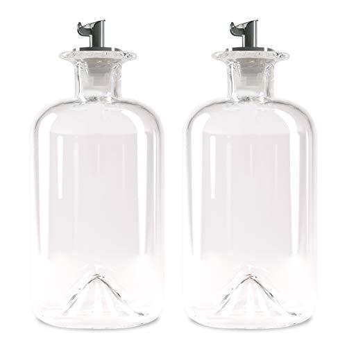 Lifestyle Lover Zuckerstreuer, Glas 350ml Flasche, Dosierer aus Edelstahl, ideal für weißer/brauner Zucker, Kakao (Blanko 2er)