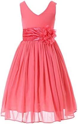 Bow Dream Flower Girl Dress Junior Bridesmaids V Neckline Chiffon Coral 8 product image
