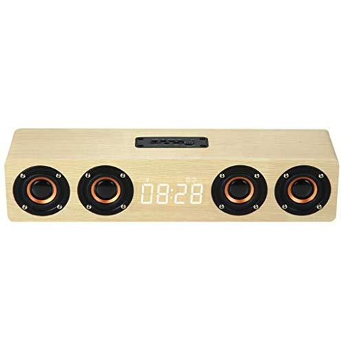 Altavoz de Madera del Despertador del Bluetooth de W8C, Portátil 20W inalámbrica Bluetooth 5.0 Altavoz, Batería 3000maH, Conexión Bluetooth 0-10 m, Admite Tarjeta TF/AUX/TWS, Micrófono Incorporado