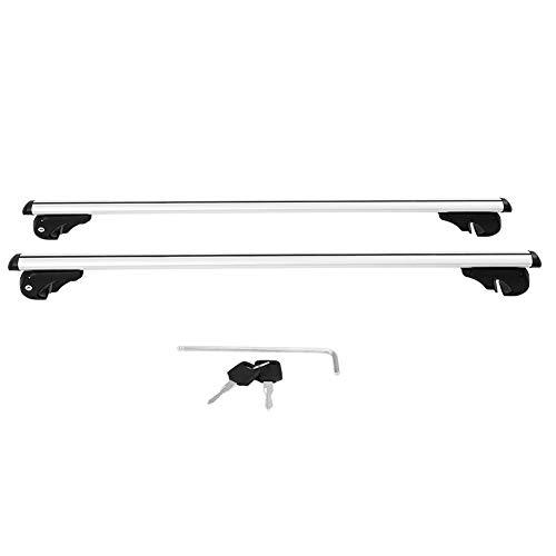 Bacas para vehículos Qiilu Barra de techo para coches 120cm 1 par con 2 llaves color plata