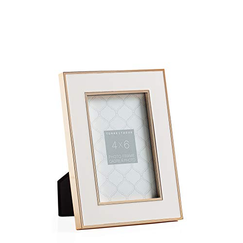 "Torre & Tagus Regis Metal Trim Enamel Desktop Picture Frame for Table Top Open Shelf Display, 4"" x 6"", Gold/White"