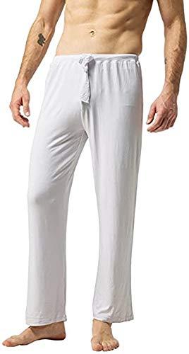 ZSHOW Pantaloni da Yoga Casual in Cotone Pantaloni Lunghi Piagiama Pantaloni da Allenamento Sportivi Palestra Morbido Asciugatura Rapida Uomo Bianco M