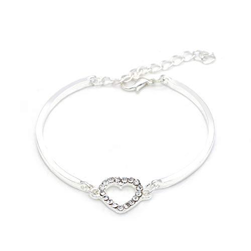 vwlvrsco Bracelet Bangle Jewelry Gift,Bracelet for Women Girls,Hollow Love Heart Rhinestone Charm,Bracelet Holder,Bracelet String Beads,Bracelet Chain Pack Silver