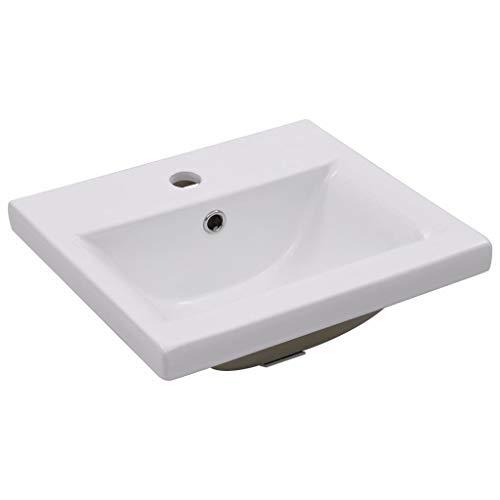 vidaXL Lavabo da Incasso con Foro di Trabocco Moderno Elegante Lavandino Lavello Sanitari Bagno Toilette 42x39x18 cm in Ceramica Bianco