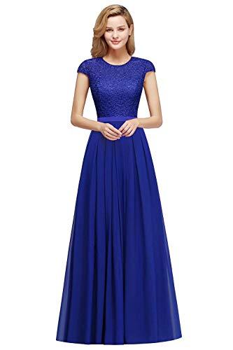 MisShow Damen Brautjungfernkleid Chiffon Rockabilly Abendkleid Langes Hochzeitskleid Royal Blau Gr.42