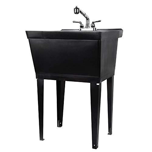 Black Utility Sink Laundry Tub With Pull Out Chrome Faucet, Sprayer Spout, Heavy Duty Slop Sinks For Washing Room, Basement, Garage or Shop, Large Free Standing Wash Station Tubs and Drainage (Black)
