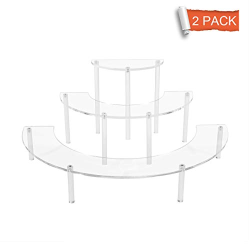 FEMELI Acrylic Half Moon Display Stand Risers for Funko Pop Doll Collection Figures,3 Tier Retail Display Stand for Counter Top Table,2pack
