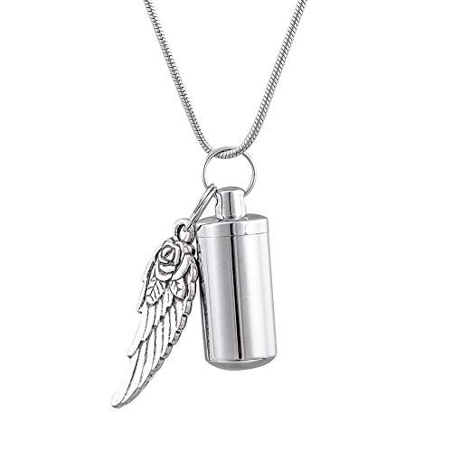 HooAMI[ホーアムアイ] メモリアルペンダント 防水 遺骨 ネックレス キーホルダー両用 天使の翼チャーム ステンレス 2.8cmx1.1cm