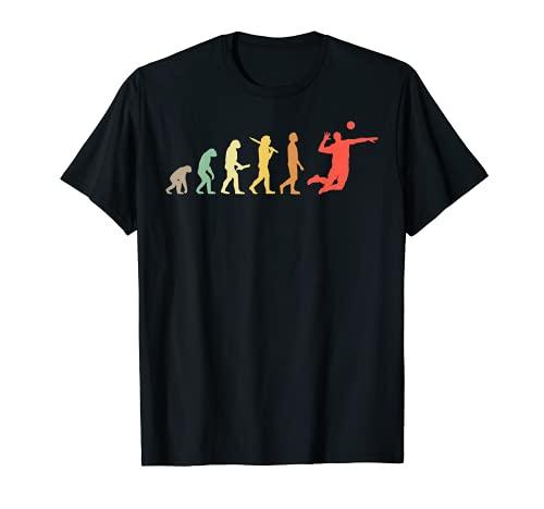 Retro Volleyball Evolution Geschenk für Volleyballspieler T-Shirt