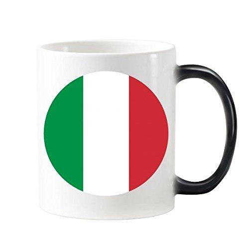 DIYthinker Modelo De La Bandera Nacional De Italia Europa País Símbolo Marca Redonda Morphing Sensible Al Calor Taza Cambiante del Color Taza De La Leche del Café con Asas 350 Ml