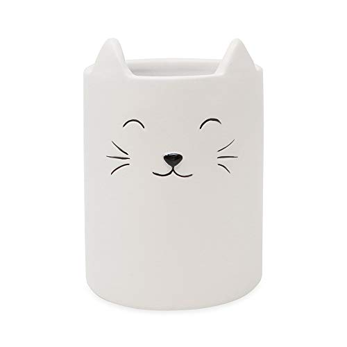 Isaac Jacobs White Ceramic Cat Makeup Brush Holder, Multi-Purpose Cup Organizer. Bathroom, Kitchen, Bedroom, Office Décor (Single Cup, Pastel White)