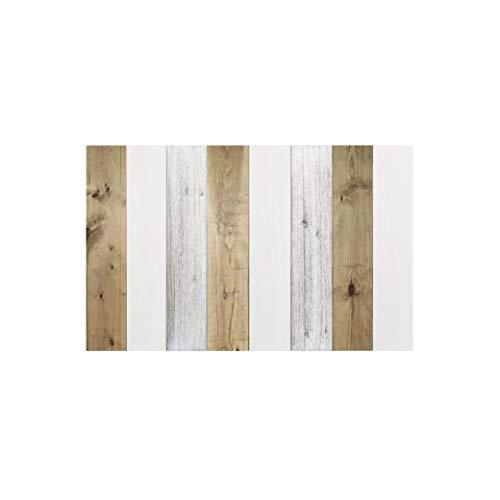 Decowood - Cabecero Vintage para Cama de Dormitorio, Madera de Pino, Combinado Blanco y Envejecido - 160 x 80 cm