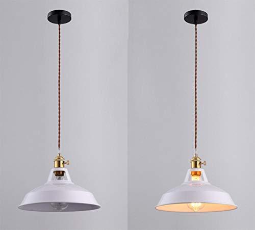 CanMix Simplicity - Lampadario in metallo, stile nordico, a sospensione, in metallo, 26,5 x 20 cm moderno bianco