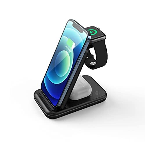 LLZH Cargador inalámbrico, Cargador inalámbrico Multifuncional Plegable, estación de Carga rápida 3 en 1, se aplican a Airpods, iPhone 12 / SE / 11 Pro / 11 / X/XR/XS / 8 Plus
