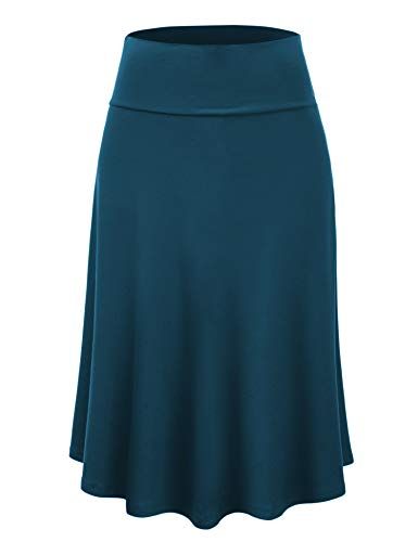 Lock and Love LL WB1105 Womens Lightweight Fold Over Flared Midi Skirt M Teal