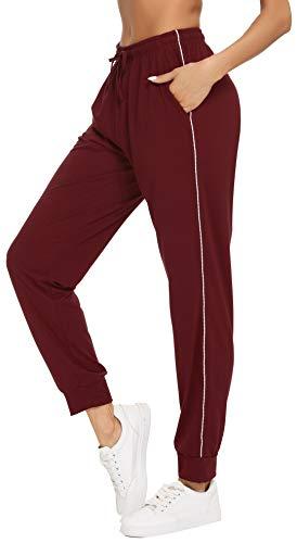 Vlazom 100% Algodón Pantalones de Jogging para Mujeres Pantalones Deportivos de Yoga Fitness Casual con Bolsillos y Cordón,S,Vino Rojo