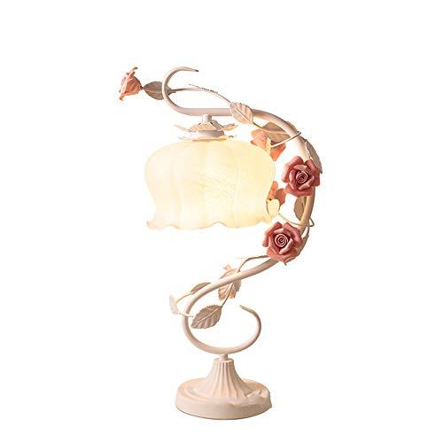 Jay Rose Lámpara de Mesa-Retro Pastoral Style Flowers Desk Light Vintage Restaurant Dormitorio Living Room Lámparas, Bombilla E27, cerámica Rose