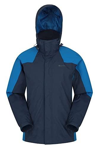 Mountain Warehouse Chaqueta Gust para Hombre - Impermeable para Lluvia, Forro de Malla, Secado rápido, Transpirable, Capucha Plegable - para Caminar, Viajar, Acampar Azul XL