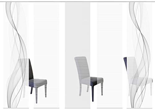 Vision S 95633-0307 | 5er-Set Schiebegardine Heights | halb-transparenter Stoff in Bambus-Optik | 5X 260x60 cm | Farbe: Grau