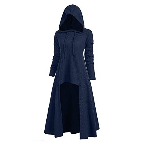 Aiserkly – Capa con Capucha para Mujer, Blusa de Manga Larga, Estampado en Espiral, Halloween, Cosplay, Carnaval, Disfraces, suéter X-c-Azul M