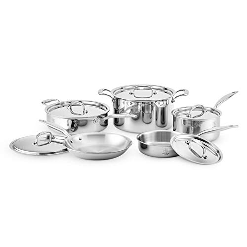 Heritage Steel 10 Piece Cookware Set - Titanium Strengthened 316Ti Stainless Steel with 5-Ply Construction - Induction-Ready and Dishwasher-Safe, Made in USA