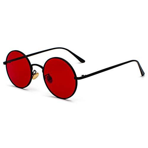 Inlefen Gafas de sol Hombres Mujeres Redondo Vintage Círculo estilo Gafas de sol Gafas de marco de metal de color Gafas negro rojo