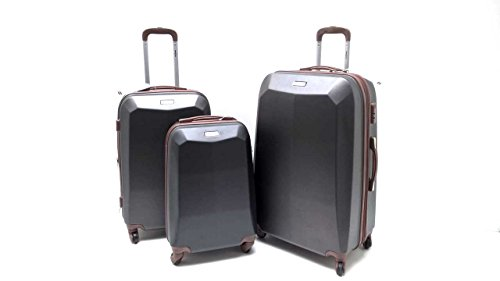 Set Tre Trolley ABS Rigido Clacson 4 ruote Antigraffio con Trolley Bagaglio a Mano Idoneo Misure IATA (Antracite)